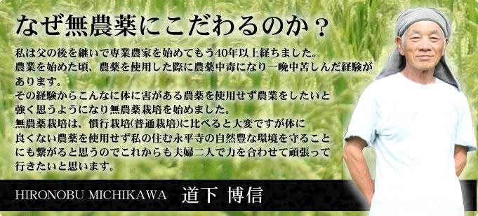 道下 博信:無農薬のこだわり:体に害がある農薬を使用せず農業をしたいと強く思うようになり無農薬栽培を始めました。