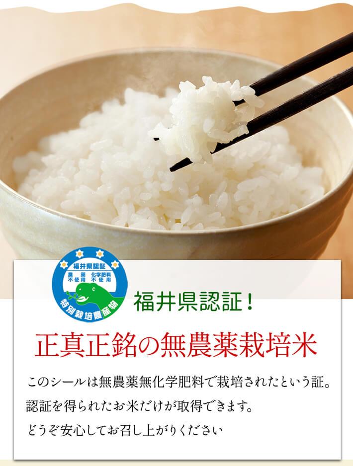 福井県認証の無農薬米